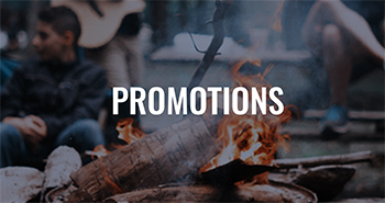 A camp fire with a text overlay that reads Promotions.