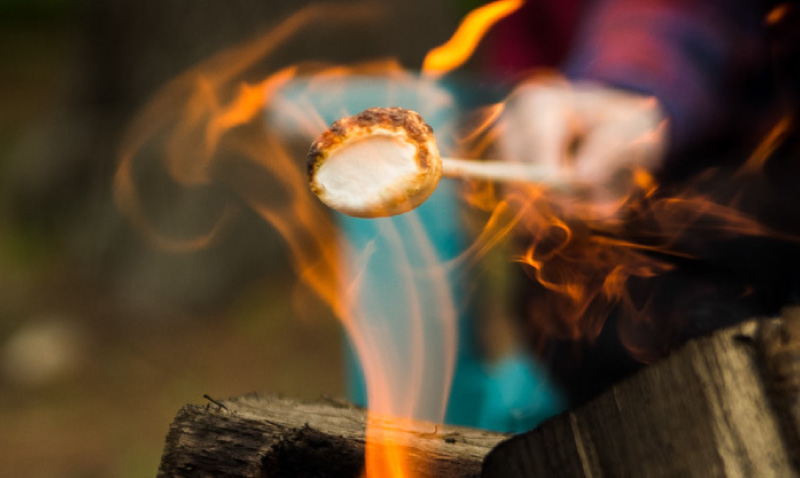 Marshmallow heated by fire.